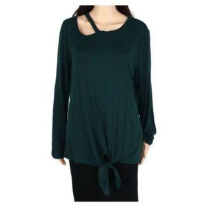 Inc Womens Sweater Green Crew Neck Tie Front
